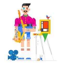 Artist designer in cartoon style artist in the vector