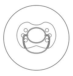 Baby pacifier icon black color in circle or round vector