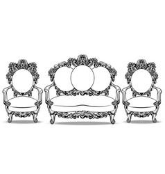 baroque furniture with luxurious ornaments set vector image