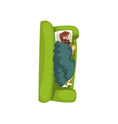 bearded man sleeping on the sofa view from above vector image