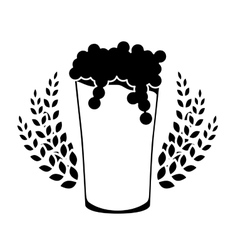 Black beer glass with branches wheat image vector