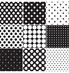 Black Polka Dot Seamless Patterns vector