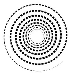 Black spiral element with dashed segmented line vector