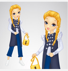Blonde girl in long waistcoat vector