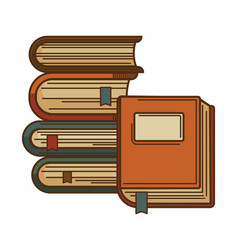 Books with bookmarks icon for poetry vector