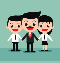 business team of employees and the boss vector image