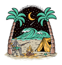 camping on beach vector image