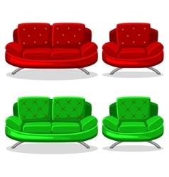 Cartoon colorful armchair and sofa set 11 vector