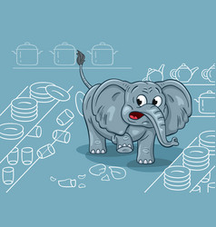 cartoon of a clumsy elephant in a china shop vector image