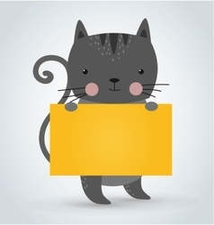 Cat pet animal holding clean welcome yellow board vector