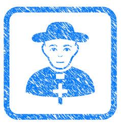 catholic shepherd framed stamp vector image