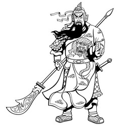 Chinese warrior 2 line art vector