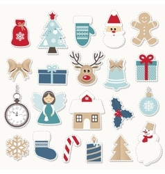 Christmas and new year festive stickers set vector
