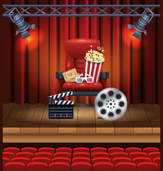 cinema entertainment with pop corn and 3d glasses vector image