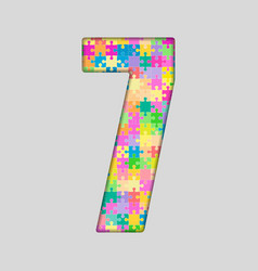 Color Puzzle Number - 7 Seven Gigsaw Piece vector image