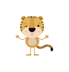 Colorful caricature of cute tiger wink eye vector
