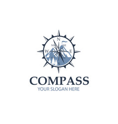 Compass with mountain vector