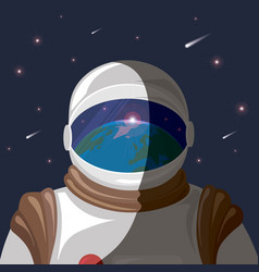 Cosmonaut in outer space with reflection of vector