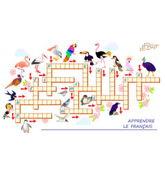 Crossword puzzle game with different birds learn vector