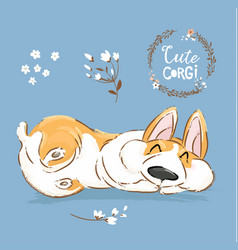 cute corgi dog puppy sleep banner welsh vector image