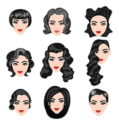 different faces of women with hairstyles vector image
