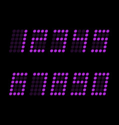 digital table neon font with grid led nubmers vector image