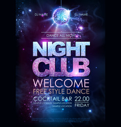 disco ball background disco night club poster on vector image