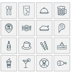 Eating icons set collection of soda beverage vector