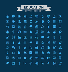 education glyph icon set vector image
