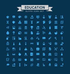 Education glyph icon set vector