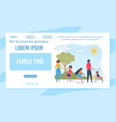 Family time flat landing page template vector