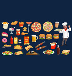 fast food drink desserts with chef cartoon set vector image