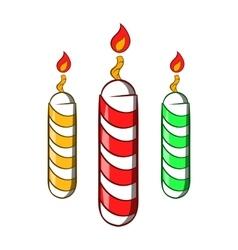 Festive candles icon cartoon style vector