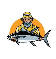 fisherman show his big fish vector image