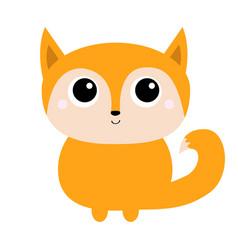 fox toy icon cute cartoon kawaii bacharacter vector image