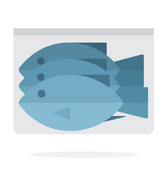 Frozen fish in vacuum packing flat isolated vector