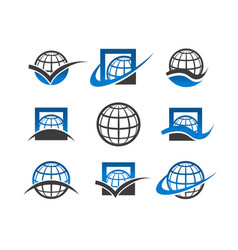 globe planet icons vector image