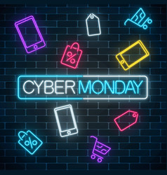 Glowing neon sign of cyber monday sale in vector