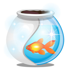 Gold fish inside a round glass aquarium isolated vector