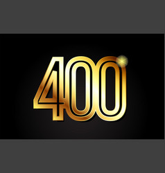 Gold number 400 logo icon design vector