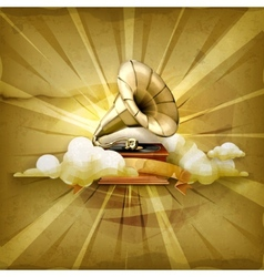 Gramophone old style background vector image