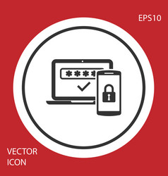 Grey multi factor two steps authentication icon vector