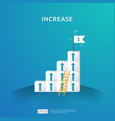 Growth business increase concept with stacking vector