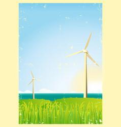 grunge windmills in ocean vector image