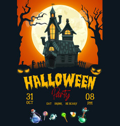 halloween horror night party poster vector image