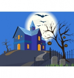 Halloween pumpkin and house eps vector image