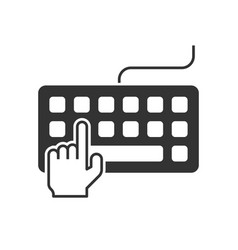 Hand typing on keyboard vector