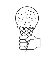 hand with ice cream in waffle cone vector image
