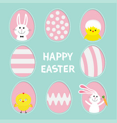 Happy easter text painted pattern egg frame set vector