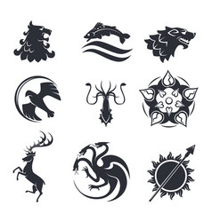 Heraldic gothic animals and birds or fish vector